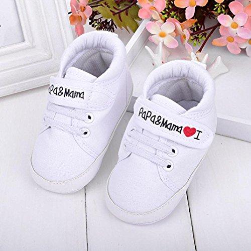 Auxma Niedlich Kind Baby Säugling Junge Mädchen weiche Sohle Kleinkind Schuhe Leinwand Sneak (6-12 Monat, Blau) Weiß