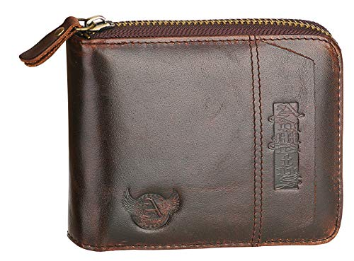 Admetus Men's Genuine Leather Short Zip-around Bifold Wallet (brown) ()