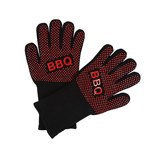 BBQ Cooking Gloves, Extreme Heat Resistant Barbeque Grilling Hands Protection - Grill & Kitchen Oven Mitts - Smoker Accessories