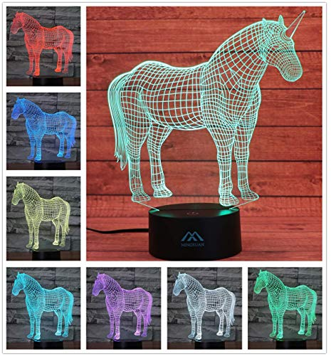 Unicorn 3D Night Light Touch Table Desk Lamps, 7 Color Changing Lights Fashion Creative Home Decoration Gifts ()