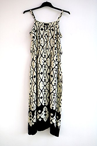 Large size Cotton Dress with shoulder-straps for party or at home (L, BLACK/PEARL) (Black Ashley Dress In)