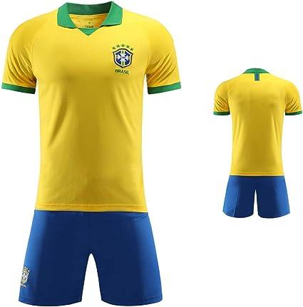 Camisa de Brasil de fútbol, Brasil Selección Nacional de Fútbol Conjunto Uniforme, Copa Mundial de Fútbol de Deporte FFF Shorts + Camiseta Uniforme de Camiseta de fútbol Personalizado,S: Amazon.es: Deportes y aire