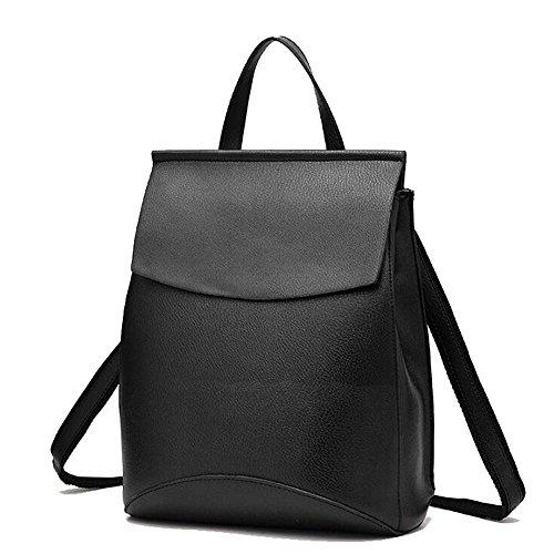 Retro Rucksack Leder Vintage Rucksack Wanderrucksack Hiking Backpack Damen Herren Schultertasche Leder Rucksack Für iPhone, iPad und Samsung Tablet drei Farbe-28*33*12cm (Schwarz)