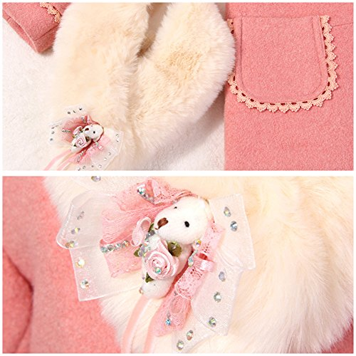LSERVER Girl's Elegant Faux Fur Woolen Collar Fashion Warm Blended Winter Coat Lace Flower Princess Bowknot Jacket Pink by LSERVER (Image #5)