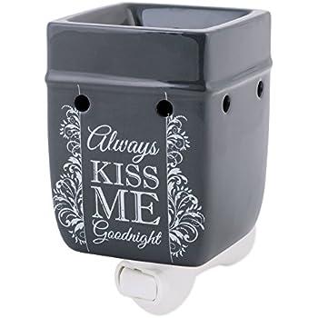 Elanze Designs Always Kiss Me Goodnight Charcoal Grey Stoneware Electric Plug-in Wax Tart Oil Warmer