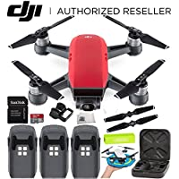 DJI Spark Portable Mini Drone Quadcopter Ultimate Palm Landing Pad Bundle (Lava Red)