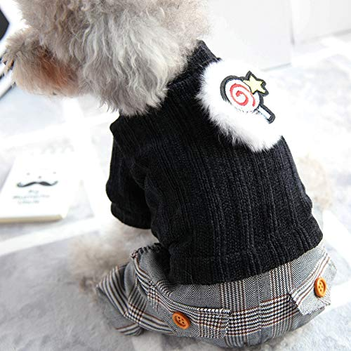 Black double layer LYSDTLX Pet Clothes, Puppy, OnePiece FourLegged Clothes, Autumn And Winter, Cotton Coat, Sweater