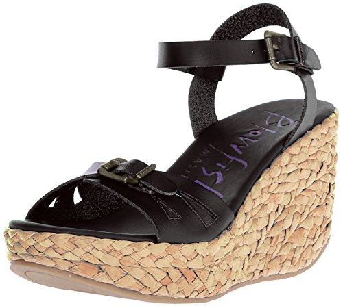Blowfish Disco de la mujer en sandalias de plataforma Black Dyecut/Nat Straw Rope