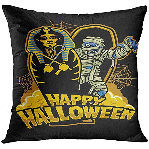 Throw Pillow Cover Coffin Halloween Design Mummy Out