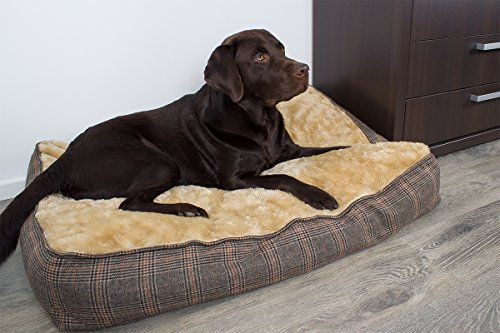 Hundekissen XL extra dick, Tweed-Optik, 100x70 cm, Hundebett waschbar