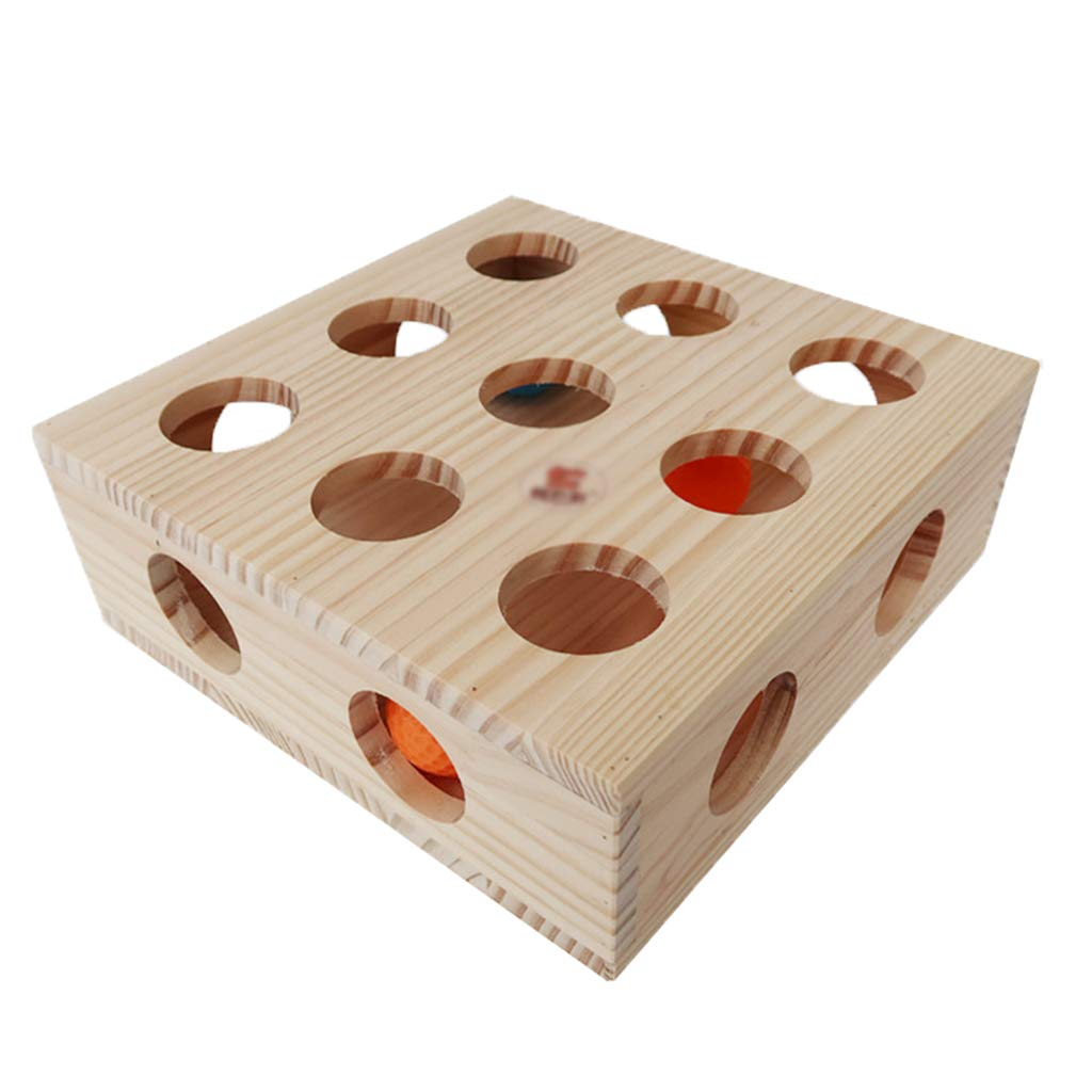 AosyGFR Wooden Puzzle Cat Toy Cat Scratch Board Cat Hide And Seek Interactive Toy Ball Teasing Cat Toy Square Treasure Chest