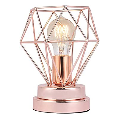 COTULIN Table Lamp,Modern Desk Lamp with Hollow Out Shade for Living Room Bedroom,Rose Gold - Input:AC 110V-120V,max 60W,fits E26 bulb(not included). Cute Size:Height 8.27 inch,diameter 6.70 inch,please note the size. Quality Assurance:Our product focused on modern style and concentrate more on quality,have got the UL certification of US. - lamps, bedroom-decor, bedroom - 51JrvxPJVaL. SS400  -