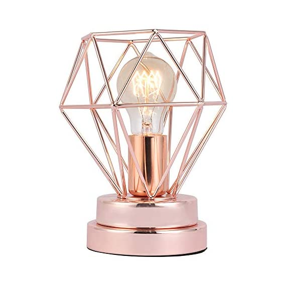 COTULIN Table Lamp,Modern Desk Lamp with Hollow Out Shade for Living Room Bedroom,Rose Gold - Input:AC 110V-120V,max 60W,fits E26 bulb(not included). Cute Size:Height 8.27 inch,diameter 6.70 inch,please note the size. Quality Assurance:Our product focused on modern style and concentrate more on quality,have got the UL certification of US. - lamps, bedroom-decor, bedroom - 51JrvxPJVaL. SS570  -