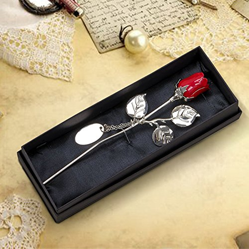 Center Gifts Decorative Silver Plated Valentines Red Rose with Custom Name/Message by Center Gifts