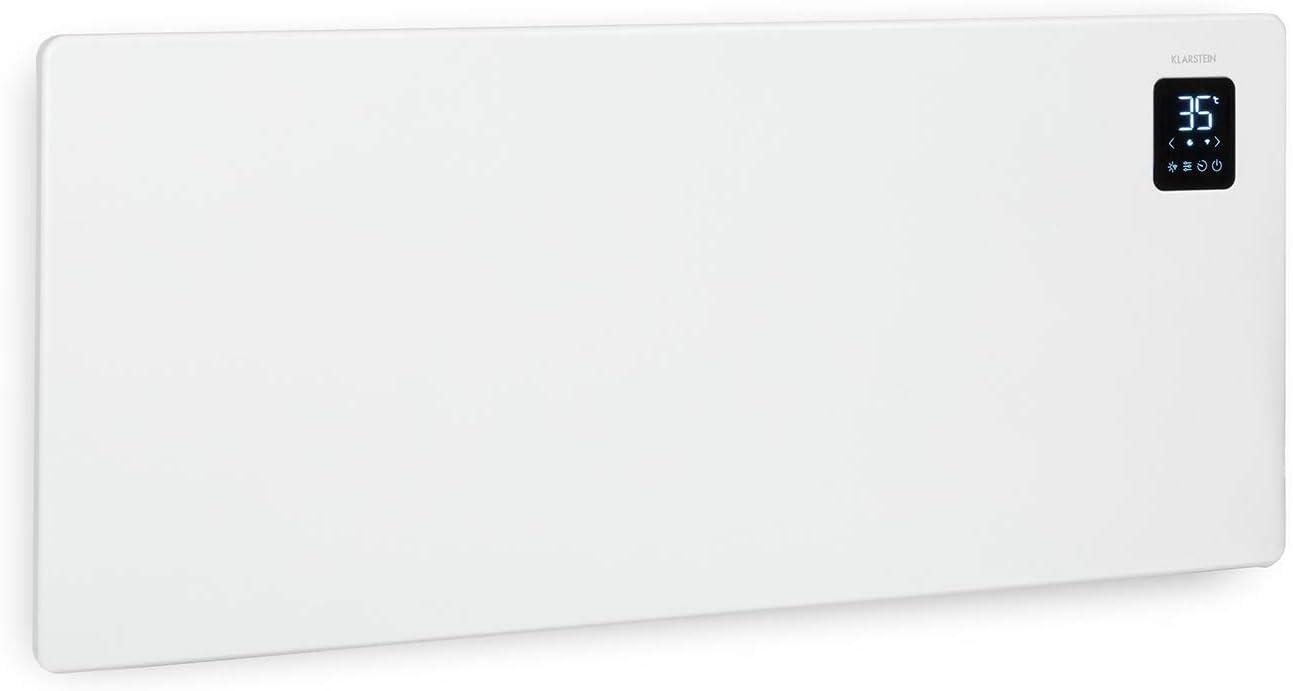 Klarstein Bansin Smart - Calefactor-convector eléctrico, Termostato entre 5 y 50 °C, Pantalla LED, Pantalla táctil, Programable, Control por app, Potencia 2500 W, Hasta 50 m², 101 x 44 x 11 cm, Blanco