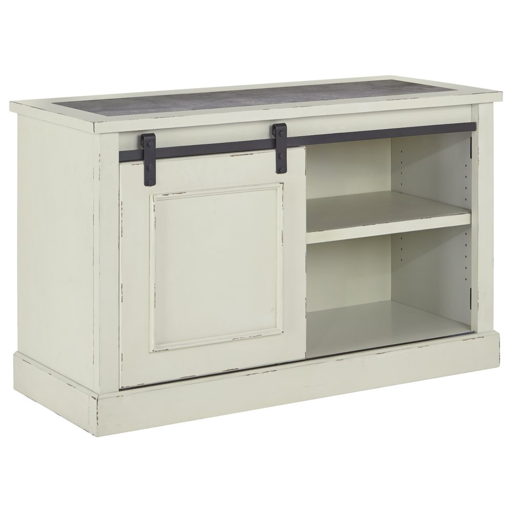 Amazon com ashley furniture signature design jonileene home office cabinet 2 shelves sliding barn door storage distressed white finish dark gray