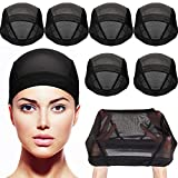 Tatuo 8 Pack Dome Caps Stretchable Wigs Cap Spandex Dome Style Wig Caps For Men Women (Black Mesh Wig Caps)