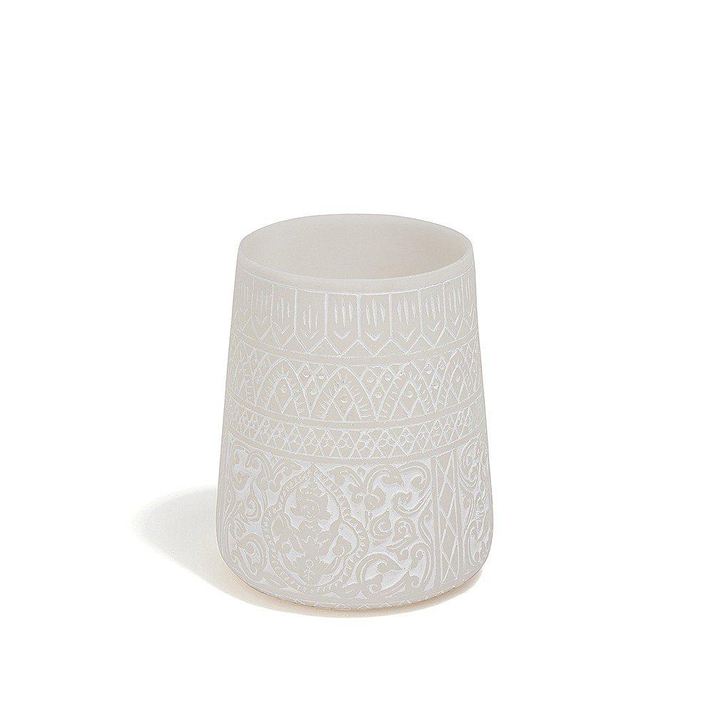LOMBOK Urn Style Powder Stone Candle Holder, Sandstone Composite, White, 7.5 x 8 x 11 cm Saigon River CA-PS-URN-WHT