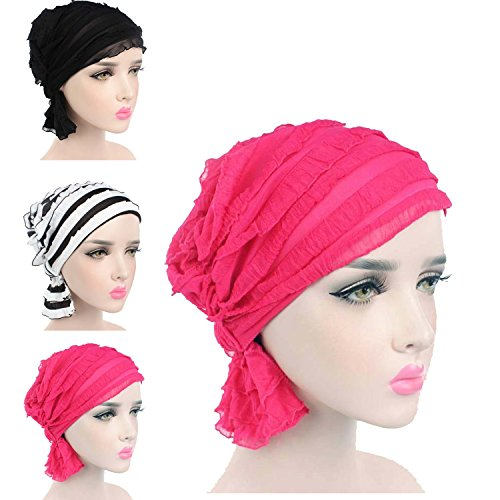 Chemo Caps for Women, Elegant Chemo Beanies Hats Scarves for Women with Stretch Elastic (5 Colors, Pack of 3, One Size)