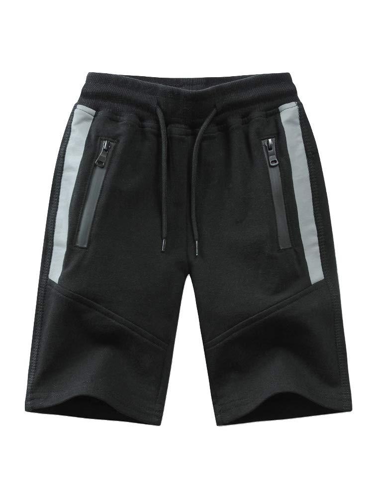 Mallimoda Boy's Knit Cotton Sweatpants Casual Sport Drawstring Waist Trousers Short Style 1 Black 11-12 Years