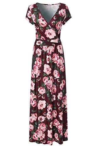 Chevron Pink Neck Womens Long Burgundy Waist KRANDA Empire Maxi Striped V Dress PYqfwC1