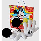 Mickey Mouse Official Parks Gloves| Ears| Trick or Treat Halloween Bag- 3 Pc Costume Mitt Accessory Bundle