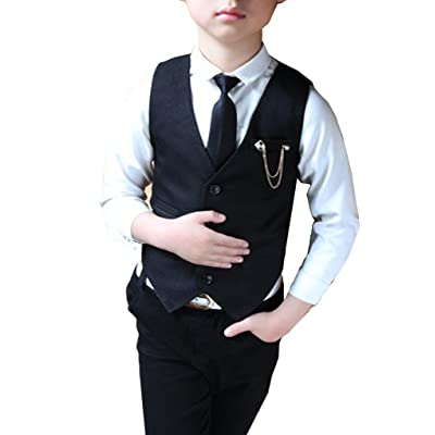 Boys Black and Gray Vest Set 3 Pieces Vest Shirt and Tie Outfit