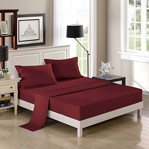 Embroidered Bed Sheets Set – 2800 Supreme Collection – Triple Lines Embroidery 288F Double Brushed Microfiber - Wrinkle Free, Fade Resistant, Ultra Soft -4pieces Bedding Set (Queen, Burgundy) ()