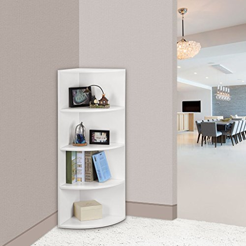 "LANGRIA 5-Tier Corner Shelf Book Shelf Mutipurpose Freestanding Storage bookcase Modular Shelving, Round End Shelves, Sturdy MDF Construction, Home Office Use, 15.6"" x 15.6"" x 47.2"", White Finish - Mdf Office Bookcase"