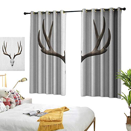 Living Room Curtain W63 x L63 Antlers,A Deer Skull Skeleton Head Bone Halloween Weathered Hunter Collection, Warm Taupe Pale Grey Bedroom Living Room Dining Room ()