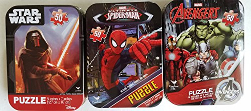 3 Collectible Boys Mini Jigsaw Puzzles in Travel Tin Cases: Marvel Disney Kids Star Wars, Avengers, Spiderman Gift Set Bundle (50 Pieces)