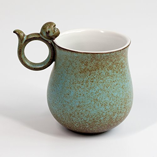 Mountain Set Happy Monkey Mug, 12 oz For Coffee, Tea, Cocoa, Rouded Body, Green Ceramic Mug, Asian Style, Nice Gift -