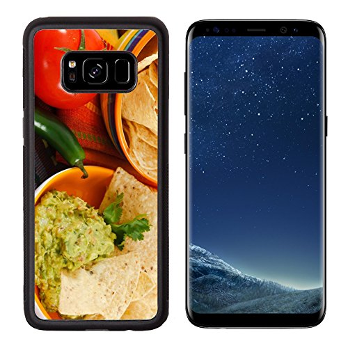 - MSD Premium Samsung Galaxy S8 Aluminum Backplate Bumper Snap Case IMAGE ID: 9282123 Close up of fresh Guacamole with corn chips accented with tomato jalapeno pepper on a colorful background