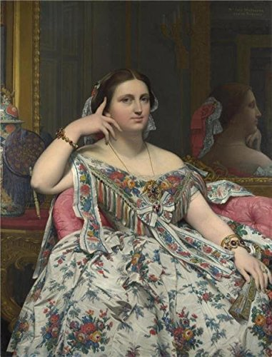 - Oil Painting 'Jean-Auguste-Dominique Ingres-Madame Moitessier,1856' Printing On High Quality Polyster Canvas , 18x24 Inch / 46x60 Cm ,the Best Home Office Decor And Home Artwork And Gifts Is This High Definition Art Decorative Prints On Canvas