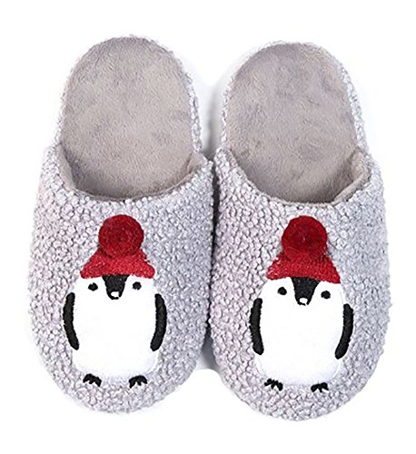 er Soft Cozy Animal Themed House Slippers, L/XL, Penguin Santa Hat (Penguin Santa)