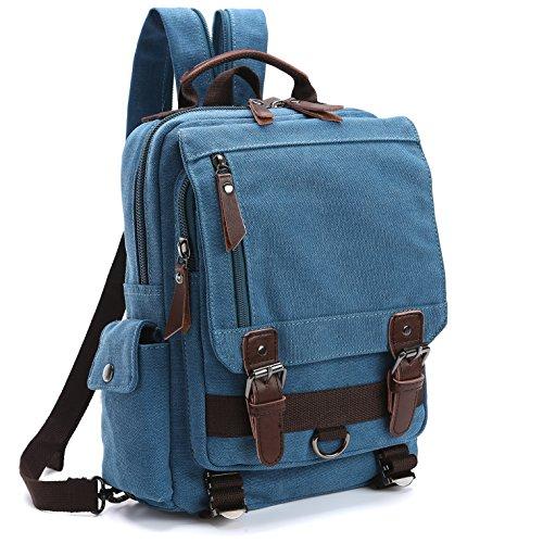 Canvas Travel Backpack, Vintage Canvas School Daypack Hiking Rucksack for Men fits 10