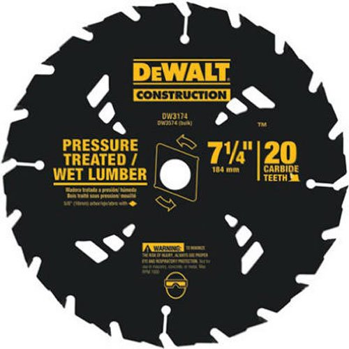Wet Cutting Circular Saw - DEWALT DW3174 Construction Series 7-1/4-Inch 20 Tooth ATB Thin Kerf Pressure Treated and Wet Lumber Cutting Saw Blade with 5/8-Inch and Diamond Knockout Arbor