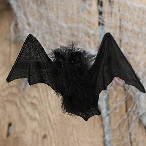 Factory Direct Craft Pair of Artificial Feathered Hanging Black Bats for Halloween Crafting and Decorating -