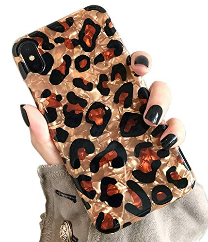 Qokey Case for iPhone Xs Max Cute Slim Fit Ultra Thin Sparkle Crystal Clear Soft Bumper Lightweight TPU Silicone Anti-Scratch Phone Cover for iPhone XR 6.1 inch for Girls Women Leopard