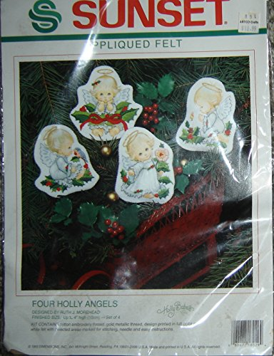 Sunset Four Holly Angels Embroidery Ornaments Ruth J. Morehead Holly Babes (Babe Ornament)