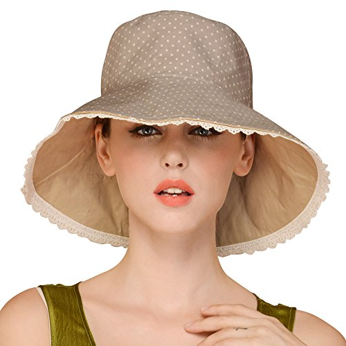 Erigaray UPF50+ Sun Shade Hats For Womens Summer Outdoor Wide Brim Beach Hat Foldable (Hat Womens Sizes)