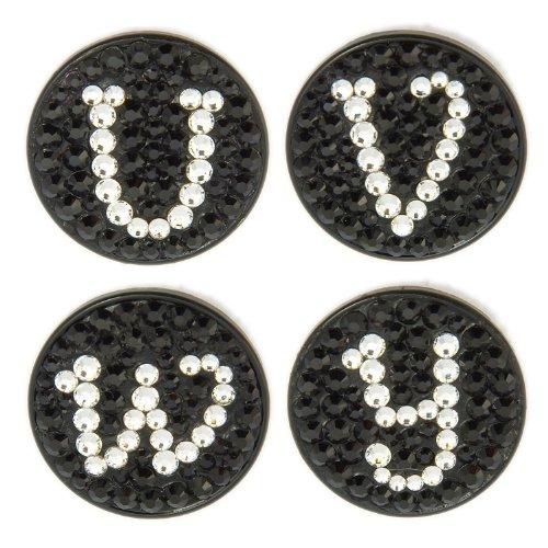 Bonjoc Swarovski Crystal Golf Ball Marker & Hat Clip - Monogram Black - Letter J