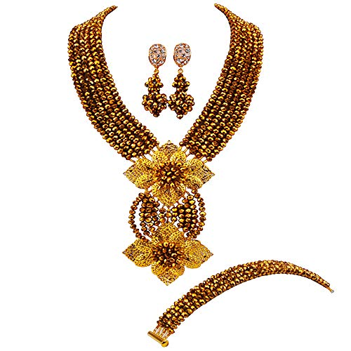 aczuv Fashion African Bead Necklace Nigerian Beads Wedding Jewelry Sets for Women (Golden Color)