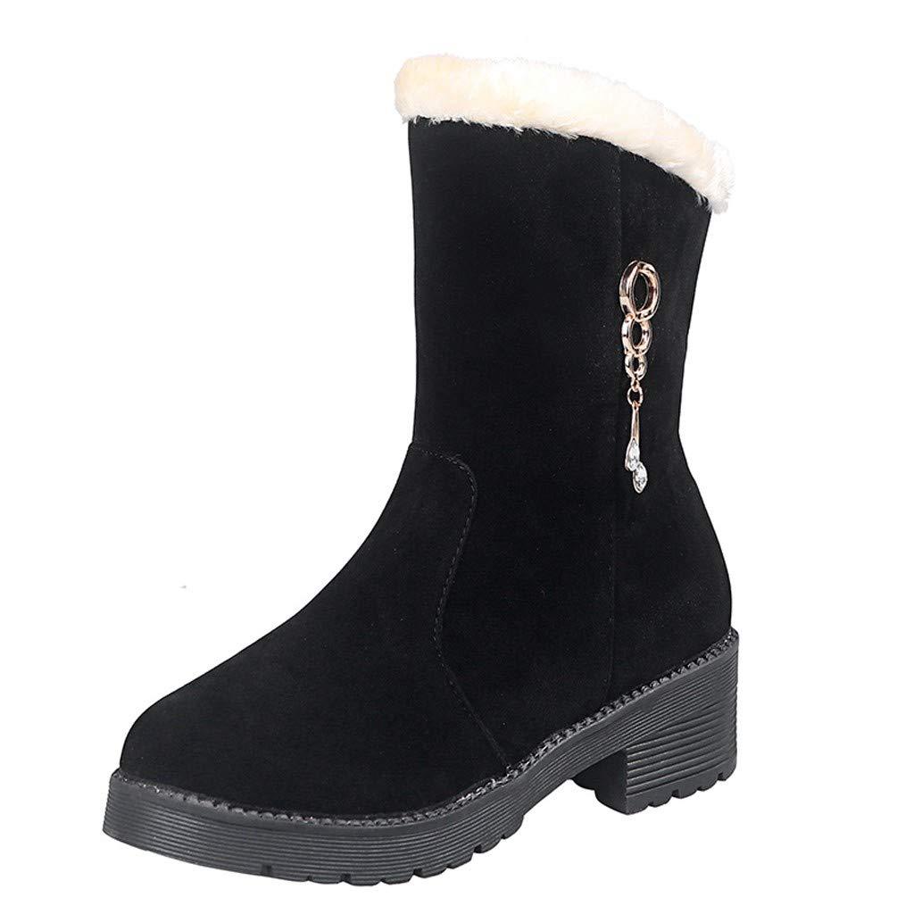 LILIGOD Damen Plus Samt Stiefeletten Lässige Warme Winterstiefel Blockabsatz Schneestiefel Snow Boots Herde Booties Bequeme rutschfeste Mittlere Stiefel Einfarbige Kurze Stiefel
