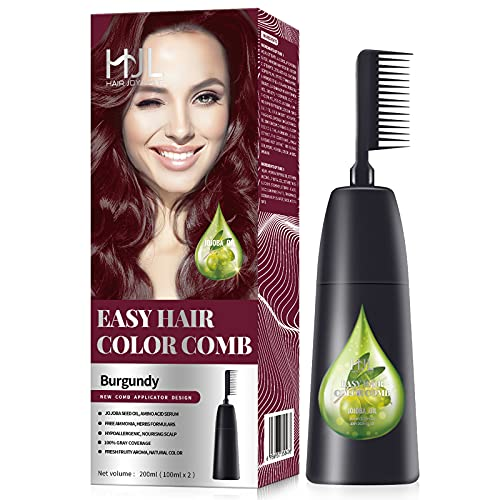 HJL Hair Color Permanent Hair Dye Cream with Comb Applicator Ammonia Free 100% Gray Coverage Hair Coloring Kit, Burgundy, Pack of 1