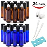 24 PACK Essential Oil Roller Bottles with Stainless Steel Roller Balls, 12 Amber Roller Bottles (0.34OZ) and 12 Cobalt Blue Roller Bottles (0.34OZ), include 1 Opener, 2 Clear Plastic Transfer
