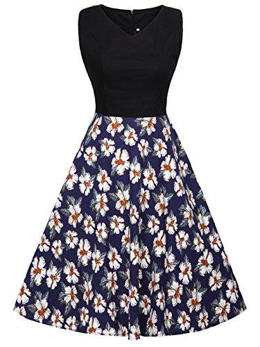 Rockabilly de DRT072 Lunares S Blanco Vestido 1950S COUPLE FAIRY Marino Azul Baile Negro Vintage 4qBwZxf1