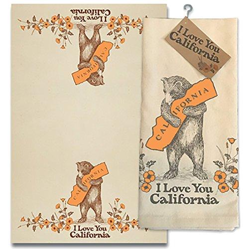 SF Mercantile I Love You California Bear & Poppy Cotton Tea Towel]()