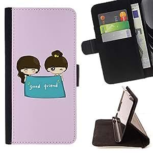 - Cute Good Friend - - Monedero PU titular de la tarjeta de cr????dito de cuero cubierta de la caja de la bolsa FOR Samsung Galaxy S5 Mini, SM-G800 RetroCandy
