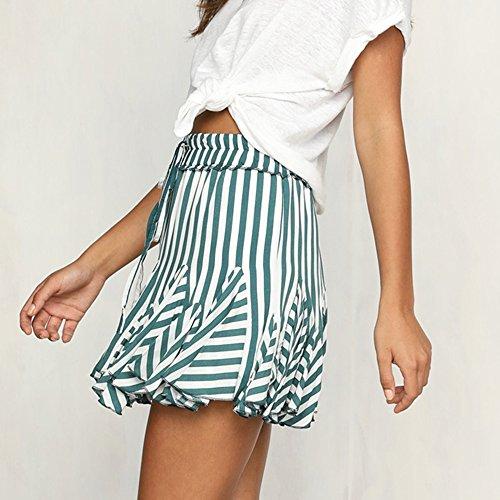 Basic Pettiskirt Sweet Green Striped Mini Women Skirt LITTHING Skirts qC7Uwc